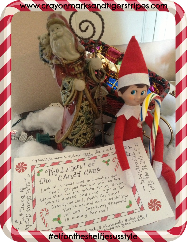 candy cane elf with printable