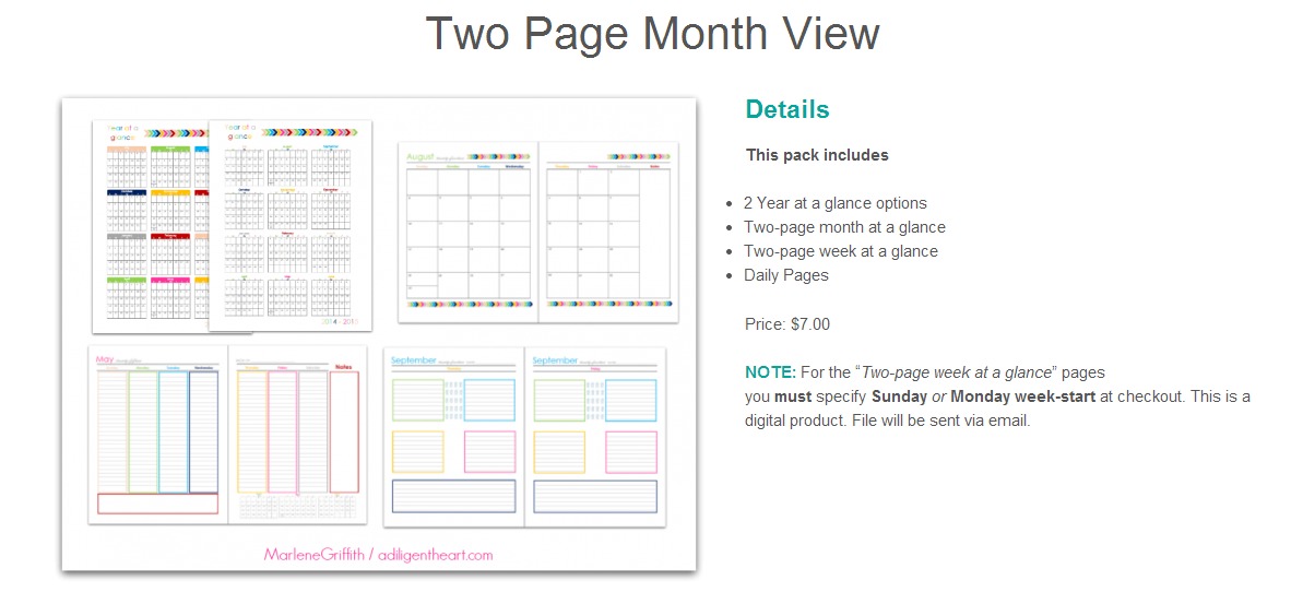2 page month view