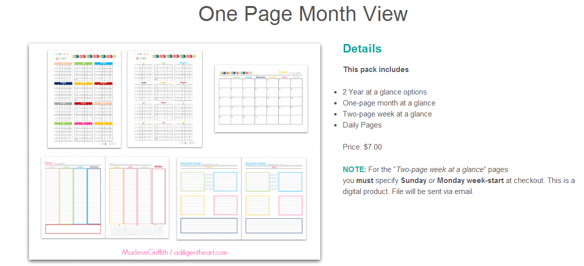 one page month view