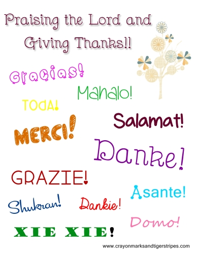 Praising the Lord and Giving Thanks Free Printable